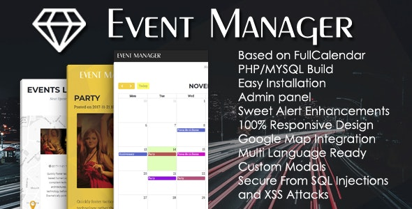 Event Manager PHP Script + Admin panel - CodeCanyon Item for Sale