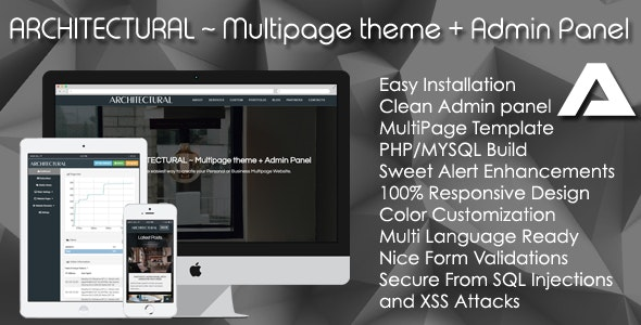 ARCHITECTURAL ~ Multipage theme + Admin Panel - CodeCanyon Item for Sale