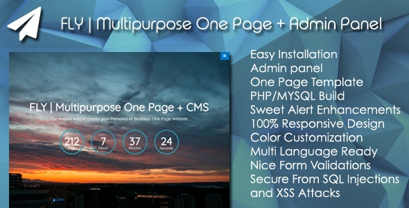 FLY | Multipurpose One Page + Admin Panel - CodeCanyon Item for Sale