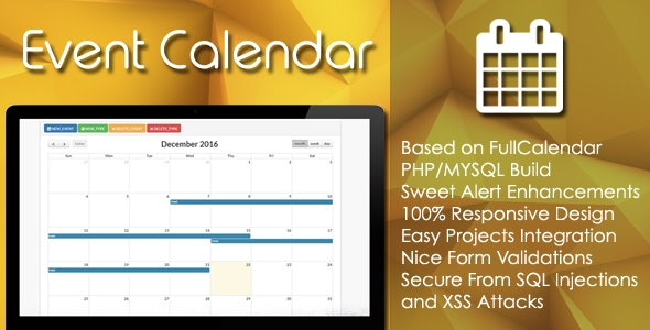 Event Calendar - PHP/MYSQL Plugin - CodeCanyon Item for Sale