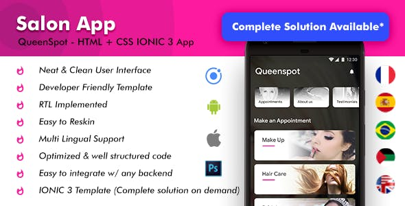 Salon Appointment Booking Android + Salon iOS App Template | IONIC 3 | Queenspot