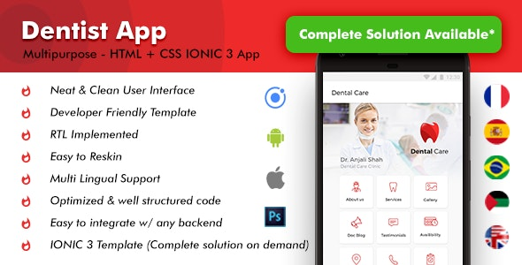 Doctors Appointment Booking Android App and Dentist Appointment iOS App Template | IONIC 3 - CodeCanyon Item for Sale
