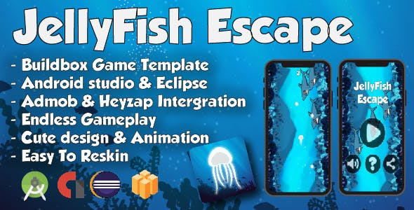 JellyFish Escape - Android Studio & Buildbox Game Template (64bit)