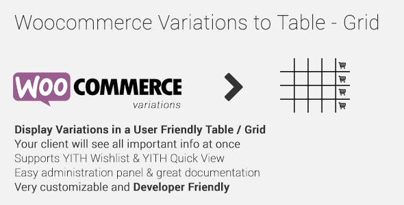 Woocommerce Variations to Table - Grid