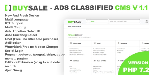 Premium Classified Ads Php Script - BuySale Classified by