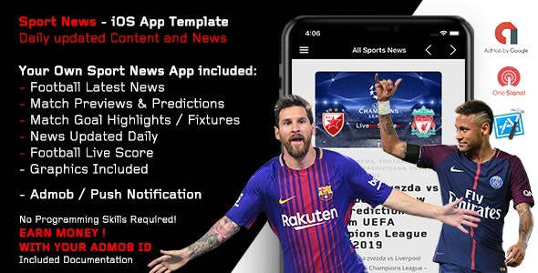 Sport News - Football iOS App Template (Admob/Push) - CodeCanyon Item for Sale