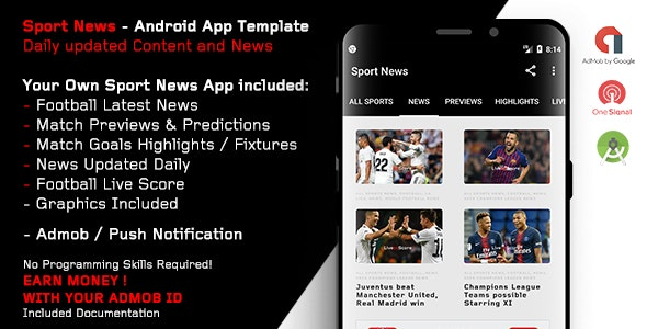 Sport News - Football Android App Template (Admob/Push) - CodeCanyon Item for Sale