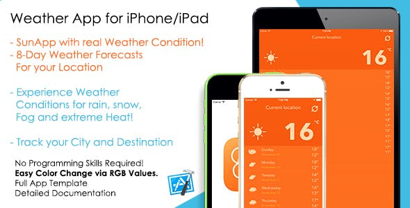 SunApp - Weather Forecast iOS App Template