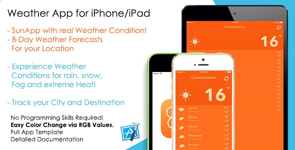 SunApp - Weather Forecast iOS App Template - CodeCanyon Item for Sale
