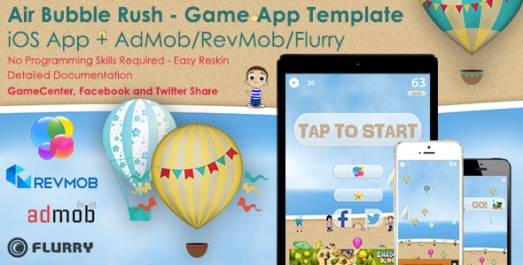 Air Bubble Rush - iOS Full Game App Template + Ads - CodeCanyon Item for Sale