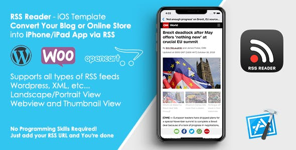 RSS Reader Template - Convert Your Website/Blog to iOS App