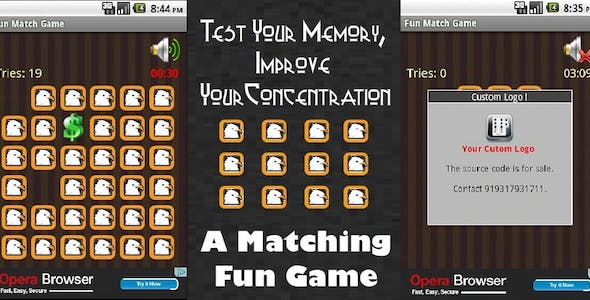 Fun Match Memory Game With Google Ads