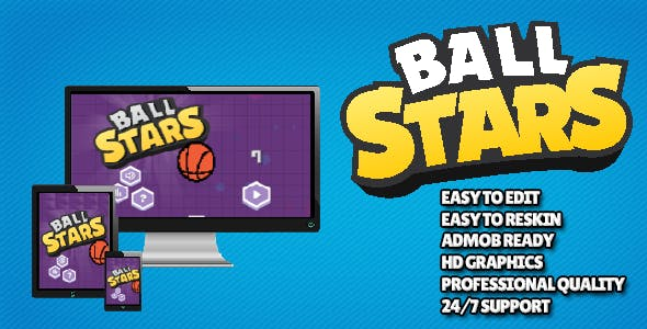 Ball Stars CAPX Construct 2 / 3 Mobile Game Template with Ad Support