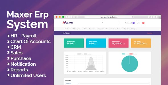 Maxer Erp System - HR, Finance, Sales, Purchase, CRM, Email Notifications