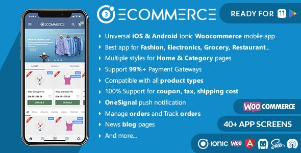 Ionic Woocommerce - Universal iOS & Android Ecommerce / Store Full Mobile App        Nulled