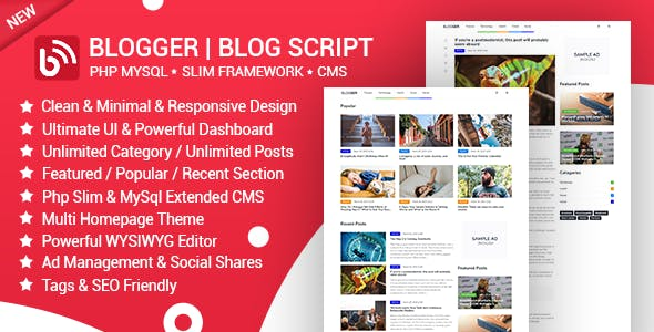 Blogger | News & Blog Script | Blog Manager | Slim PHP & MYSQL with Admin CMS