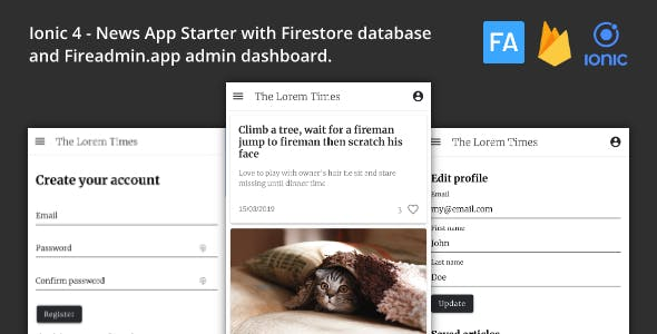 Ionic 4 News App with Firestore Database and Fireadmin Dashboard
