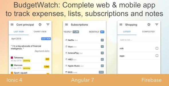 BudgetWatch - Full-featured Ionic 4 & Firebase App for Budget Tracking