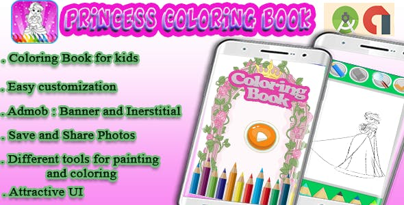 Coloring Book For Kids (Princess) - Android Project with Admob