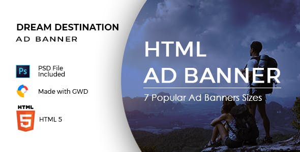 Dream Destination - Summer Sale - HTML Ad Banner Template