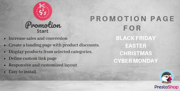 PromotionStart - Promotions Page for Black Friday / Easter / Christmas