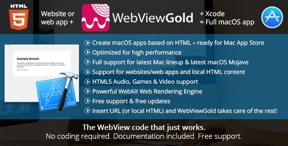 WebViewGold for macOS – WebView URL/HTML to macOS app – ready for Mac App Store & much more! - CodeCanyon Item for Sale