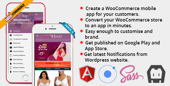 Woobazaar Full Mobile Application for Woocommerce Ionic 3
