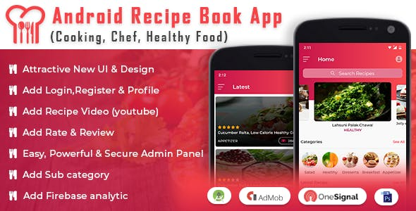 Android Recipe Book App (Cooking,Chef,Healthy Food, Admob with GDPR)