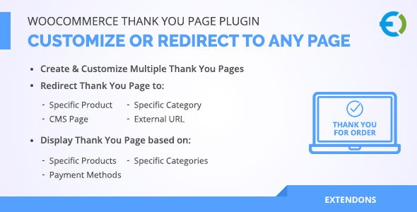 WooCommerce Thank You Page Plugin, Customize or Redirect to any page - CodeCanyon Item for Sale