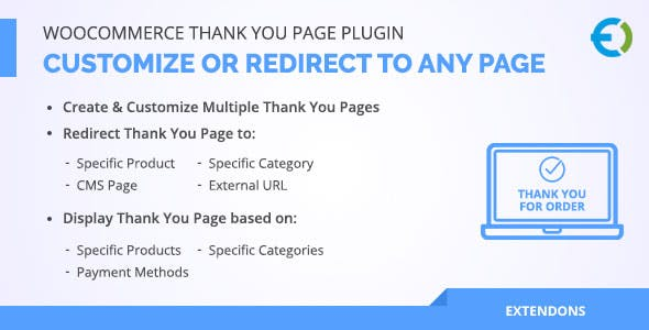 WooCommerce Thank You Page Plugin, Customize or Redirect to any page
