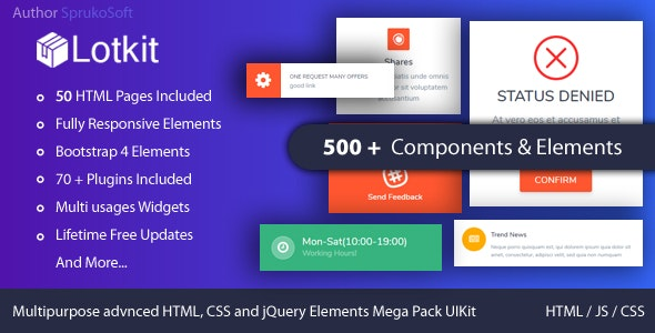 LOTKIT -   Multipurpose Advanced HTML, CSS and jQuery Components and Elements Mega Pack HTML UI Kit - CodeCanyon Item for Sale