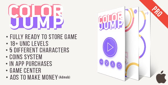 Color Jump PRO (iOs) Color Switch like Game + Easy To Reskine + AdMob