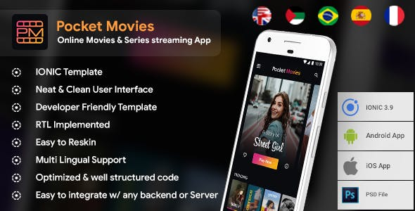 Online Movie & Video Streaming Android App + movies iOS App Template | HTML + Css IONIC 3