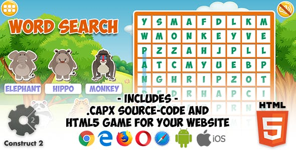 Word Search Game - Construct 2 Source Code and HTML5 Files for your Site