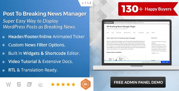 Breaking News Ticker Plugins, Code & Scripts from CodeCanyon