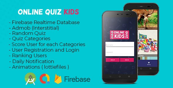 OnlineKidsQuiz Game + Firebase Real-time + Admob + Daily Notification