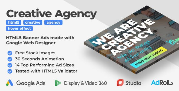 Creative Agency - Animated HTML5 Banner Ad Templates (GWD)
