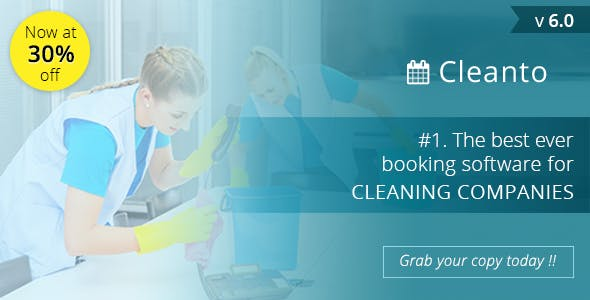 Cleanto - software with booking system for cleaner service companies - CodeCanyon Item for Sale