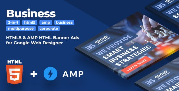 Business Strategy (2-in-1) - Multipurpose Business HTML5 & AMPHTML Animated Banners (GWD)