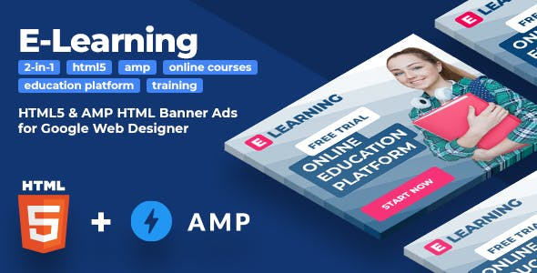 E-Learning (2-in-1) - Online Education HTML5 & AMPHTML Animated Banners (GWD)