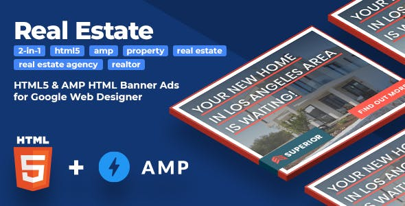Superior (2-in-1) - Real Estate HTML5 & AMP Animated Banners (GWD)