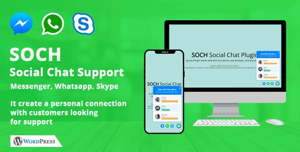 Soch - Social Chat Support for WordPress - CodeCanyon Item for Sale