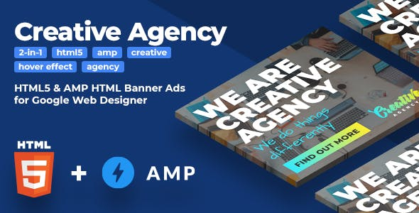 Creative Agency HTML5 & AMP Animated Banners (2-in-1)