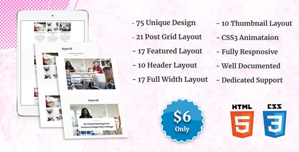 Blog Posts Layout CSS Showcase - CodeCanyon Item for Sale