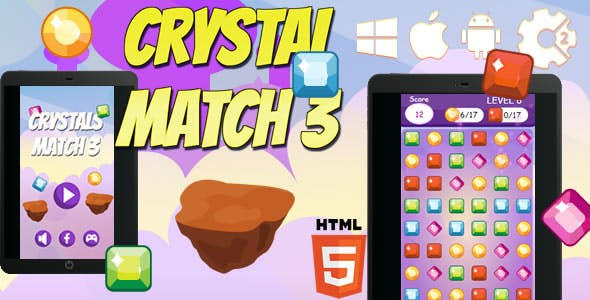 Crystals Match 3 - Html5 Game