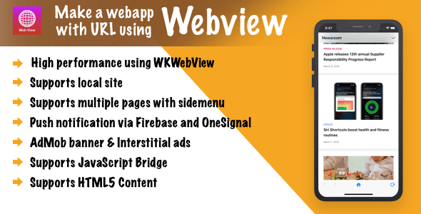 Webview - Convert URL/HTML to iOS app + push notification + inApp & much more