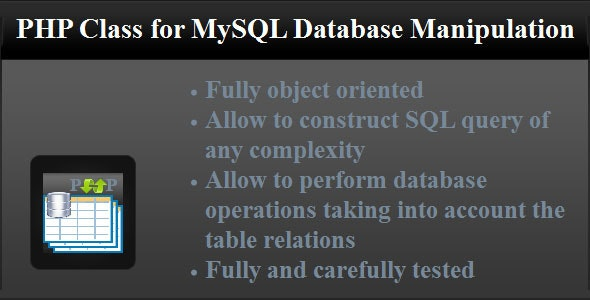 PHP Class for MySQL Database Manipulation - CodeCanyon Item for Sale