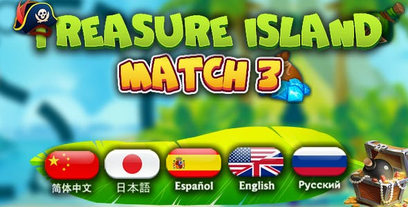 Treasure island-match3, English, Japanese, Chinese, Spanish, Russian