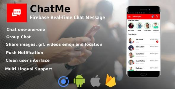 Chatme - Ionic 4 Real-Time Firebase Chat Messenger by