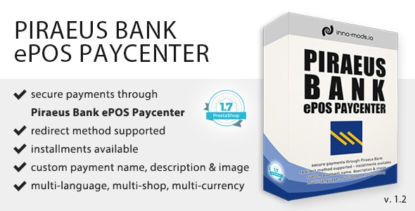 Piraeus Bank ePOS Paycenter for Prestashop - CodeCanyon Item for Sale